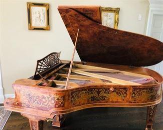 "ITEM 1: GABRIEL GAVEAU PIANO - Inlaid Marquetry. From early 1900's. Ivory keys. Dimensions: 58""W x 80""L x 40""H."