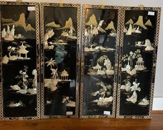 4 panel oriental wall panels with shells, hand painted