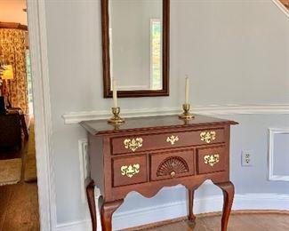 "Wood beveled glass mirror.  40""H x 18""W"