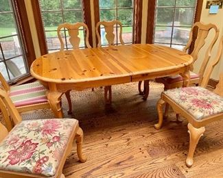 """$300 6 Pine Queen Anne style chairs  (two with striped seats and four with floral seats) 41""""H x 22""""W x 20""""D (seat height 19""""H)"""