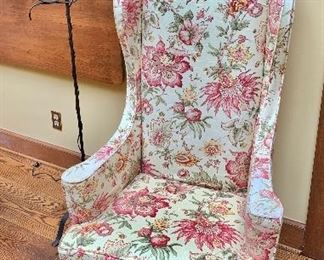 """$195 - Floral slip covered high back wing chair. 48""""H x 26""""W x 23""""D (seat height 18.5""""H) - One available"""