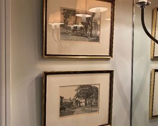 Pair Nantucket etchings