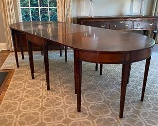 "Antique banquet table - 3 parts plus 2 leaves - 42"" x 140"" fully extended"