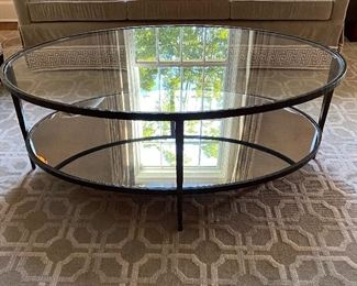 Glass & iron coffee table