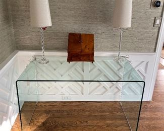 Modern bent glass console table or desk