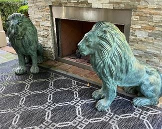 Pair large bronze lions 36""