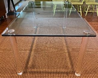 Mid-century Modern glass & lucite dining table
