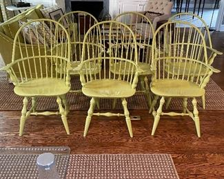 Set of 6 Windsor chairs, custom lacquered