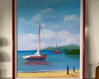 Oil - Sailboat - E. Martinz