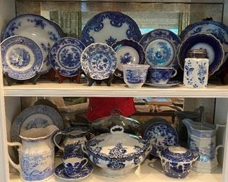 Assorted antique flow blue & blue transfer ware