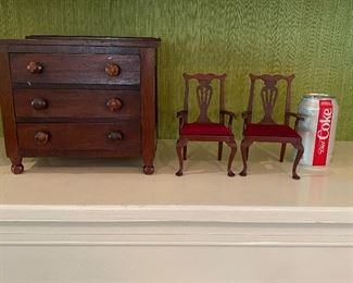 Miniature chairs & chest