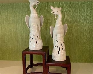 Blanc de chine phœnix birds, pair