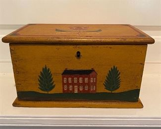 Antique painted miniature blanket chest