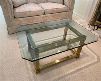 """LaBarge brass and glass coffee table                   350.00         16""""H x 36""""L x 26""""D"""