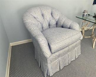"""Tufted blue chair                                                                    225.00     33""""h x 33""""w x 20""""d"""