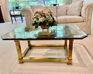 """LaBarge brass and glass coffee table                    350.00                                                             16""""H x 36""""Lx 26""""D                                                                                  (flower arrangement not for sale)"""