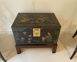 """Drexel Chinese-style trunk on stand                 295.00               20""""h x 24""""w x 16 3/4""""d"""
