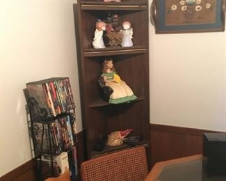 Corner shelf. I have 2 for sale. Pie rack lower left of pic. Middle is DVD rack w/DVD's. Wood trays Upper right corner of pic.
