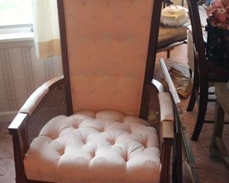 TUfted Chintz Caned Chair