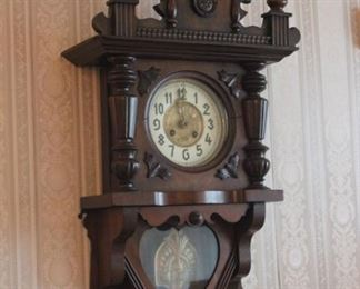 Victorian Carved Wall Clock with Eagle Pediment