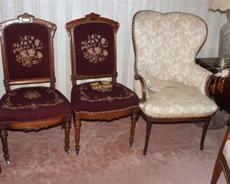Petite Pointe Needle work Chairs and Chippendale style wing back