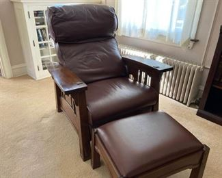 Stickley Morris Style Recliner and Matching Ottoman