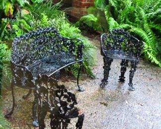 Cast and wrought iron garden furniture