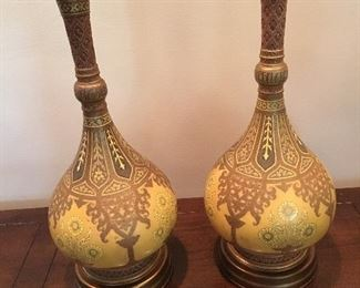 vintage Moroccan styled English vases imported for Marbro Lamp Company