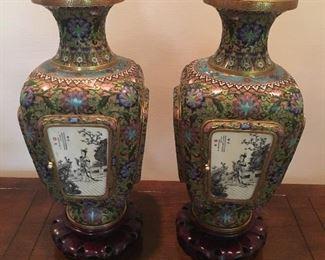 incredible pair hand painted enamel on brass vases