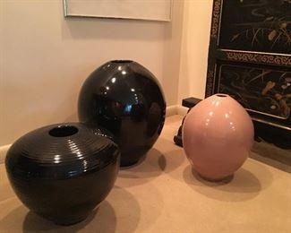 large glazed vases