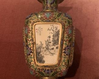pr 100 plus year old Chinese cloisonné enameled brass vases imported for Marbro Lamp Company