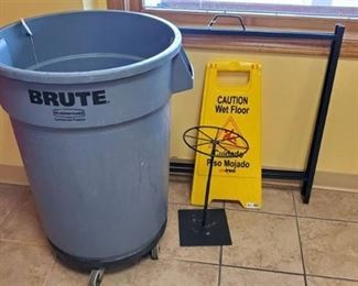 Brute Trashcan On Wheels, Display Stands, Wet Floor Sign