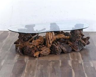 Organic Modern Burled Raw Edge Cluster Coffee Table