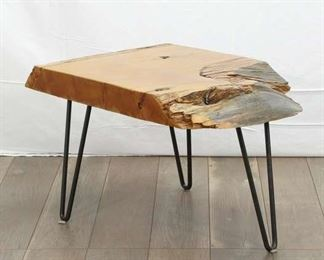 Organic Modern Raw Edge End Table W Hairpin Legs
