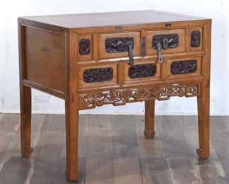 Antique Carved Asian Chest Of Drawers