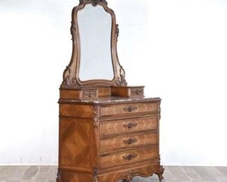 Carved Victorian Dresser W Mirror & Rose Marble Top