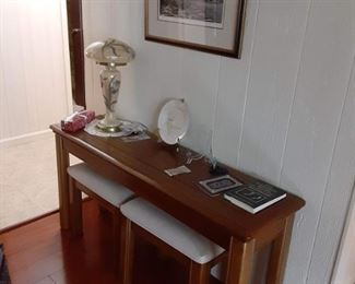 Sofa table and stools