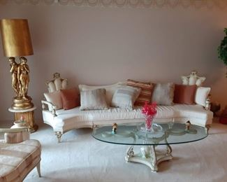 Funky French provincial sofa and lamp gold funky