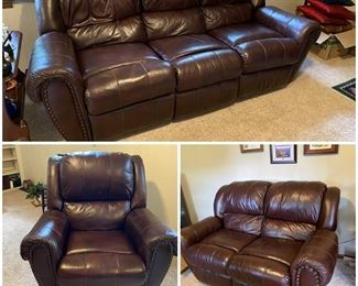 Lane Leather Living Room Suite