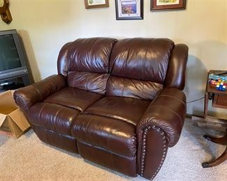 Lane Leather Love Seat Reclines