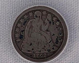 1842-O US Silver Liberty Seated Dime ANACS VG8