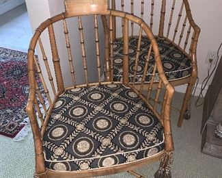 """Pair of Baker Bamboo Chairs 35""""(H) x 20""""(W) x 21""""(D) - Price for pair $950"""