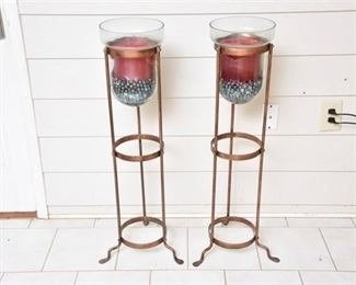 2. Pair Of Contemporary Copper Candle Holders
