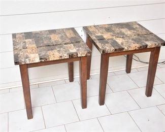 5. Pair Of Contemporary Faux Marble Top End Table