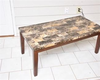 6. Contemporary Faux Marble Top Coffee Table