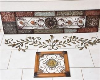 9. Three 3 Decorative Metal Wall Hangings