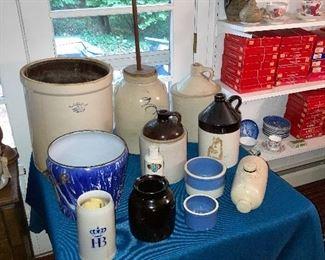 Crocks, and Blue Swirl Porcelain Slush Pail