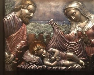 "Stunning Close Up of Resin Relief Of Joseph, Mary & Baby Jesus       The Photo Doesn't fo it Justice!!! Height  26"" Width   30"""