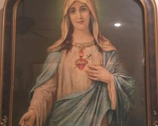 "Very Old Our Lady Immaculate of Mary in Matching Lovely Antique Frame      Over 100 years old!!! Height  22.5"" Width   18.5"""