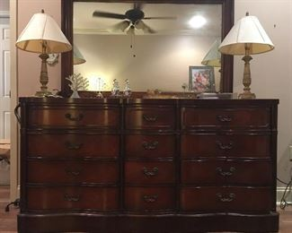 "Lovely Large Mahogany Dresser  with Beautifully Framed  Mirror. Dresser has Tons of Storage!!!      8 Large Drawers      4 Medium Drawes Width   69"" Height  34.5"" Depth   20.6"""